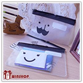 【winshop】B2080 韓系笑臉鬍子收納袋/微笑小雞/筆袋/夾鏈袋/文件袋/資料夾/拉鍊袋/化妝包