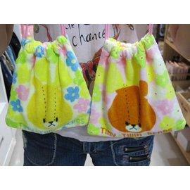 美家園^~ 帶回 超可愛 上學熊 小熊學校 毛巾布 收納包 束口袋^~黃色小熊 褐色小熊