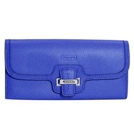 COACH 50612 海藍色全皮壓字金屬飾牌雙摺長夾