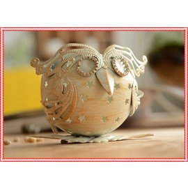 zakka鄉村風日雜 鐵製質樸復古刷舊色星星貓頭鷹 燭台 歐式浪漫桌面動物燭臺 婚禮櫥窗佈