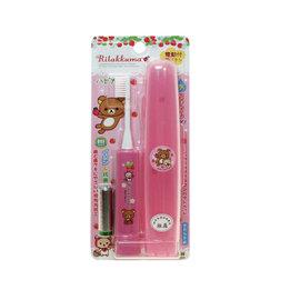 【紫貝殼】 『JW10367』日本原裝進口 懶懶熊盒裝兒童電動振動牙刷/負離子抗菌電動牙刷(粉色)【日本製/每分鐘振動7000次】