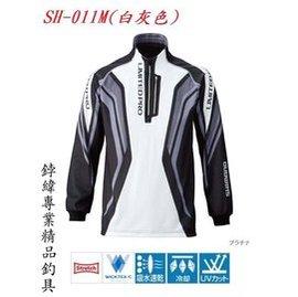 ~鋍緯釣具 店~ SHIMANO 長袖釣魚排汗衫 SH~011 L XL 白灰色