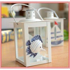 FunZakka Vintage 浪漫地中海風復刻油燈 玻璃燭臺 貝殼 帆船 海星 熱帶魚