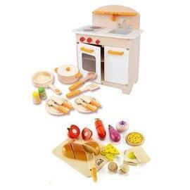 【紫貝殼】『CLA01-2+05+18』德國【Hape愛傑卡】大型廚具台+主廚配件+主廚烹飪 (限量北歐風組合)【原價7278,優待5750】