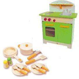 【紫貝殼】『CLA01-1+CLA05』德國【Hape愛傑卡】大型廚具台(綠色)+主廚配件(限量組合)【店面經營/可預約看貨】