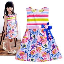 夏日~彩虹花朵款~甜美小洋裝 ~ 90~140cm K3~4