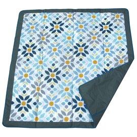 『HA01』美國 JJ Cole Essentials Blanket 外出攜帶防水野餐墊 / 戶外遊戲墊 / 防水墊(藍花)【裡層防水,防汙漬/展開:150cm*150cm 】
