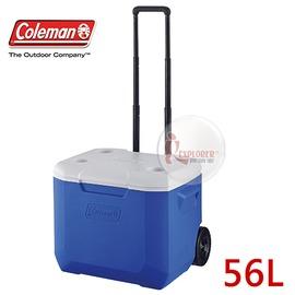 探險家戶外用品㊣CM-2637 美國Coleman 56L 海洋藍拖輪冰桶 (藍) 行動冰箱 保冷箱 冰筒 托輪