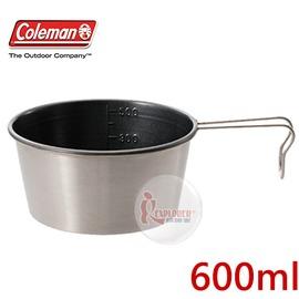 探險家戶外用品㊣CM-5589 美國Coleman 不沾鍋梯形杯 (600ml) 不鏽鋼杯 提耳碗 提耳掛鉤 登山杯