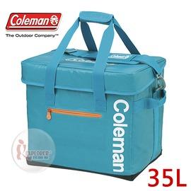 探險家戶外用品㊣CM-6601 美國Coleman Elite 35L 水藍保冷袋 軟式摺疊冰箱 行動冰箱 冰桶 保冷箱