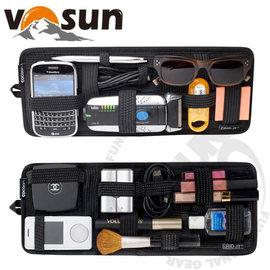 【VOSUN】創新多功能彈性收納包/遮陽板.收納包.數碼包.收納盒/適用於汽車擋陽版.手提包內袋收納.辦公室吊掛收納/GRID-IT 黑色