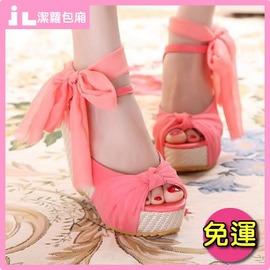 浪漫絲帶亞麻坡跟兩穿式魚口楔型涼鞋 JLNice 潔蘿包廂 免 ^(正韓風包羅馬蝴蝶結夾腳
