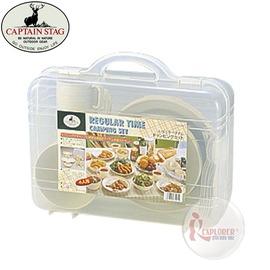 探險家戶外用品㊣M-1201 CAPTAIN STAG 日本鹿牌4人份餐具組 套鍋具組 餐碗盤 露營 野炊 廚具