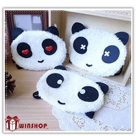 【winshop】A2130 日韓系絨毛貓熊口罩/熊貓口罩/絨毛口罩/動物口罩/造型口罩/保暖口罩