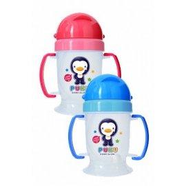 PUKU藍色企鵝滑蓋式矽膠吸管練習杯(摺疊握把)(P14716) *不含雙酚A!!*