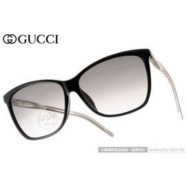 GUCCI 太陽眼鏡 GG3663FS 0WMEU (皮革黑) 簡約時尚立體轉節鏡腳系列貓眼款 墨鏡 # 金橘眼鏡
