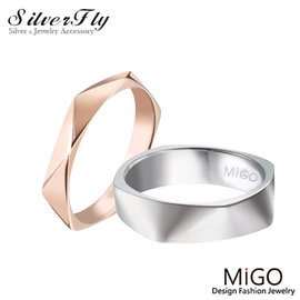 ~ SilverFly銀火蟲銀飾 ~~MiGO~柔情白鋼對戒~銀  玫瑰金^(另可搭黑色系
