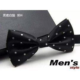 vivi領帶家族 ~〉 男仕  結婚新郎、伴郎紳士領結、蝴蝶結^(B04黑底白點^)