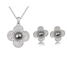 飾品 項鍊 耳環 套裝奧地利珍珠세트套裝~~水中花(深灰)