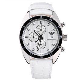 ~EMPORIO ARMANI~優雅白色皮質錶帶三眼夜光腕錶 AR5915
