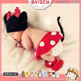 童裝 嬰兒攝影寫真紅色米妮帽+包屁褲+襪套 套裝【HH婦幼館】