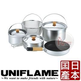 探險家戶外用品㊣660256 日本 UNIFLAME FAN5 DUO 2-3人不鏽鋼鍋具組 (日本製) 餐碗盤 露營 野炊 廚具