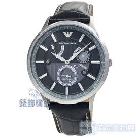 ~錶飾 ~ARMANI手錶 AR4659 亞曼尼 紳士型男 黑面黑皮帶 手自動上鍊動力儲存