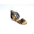 ❤ViVi Love 女鞋 ❤ 韓系修飾腳寬四線條交叉水鑽小楔型後拉鍊涼鞋 V5103