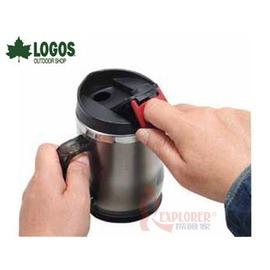 探險家戶外用品㊣NO.81285100 日本品牌LOGOS 不鏽鋼斷熱杯420ml(煙灰) 隔熱杯 拉蓋式