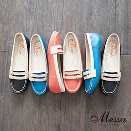【Messa米莎】 MIT 簡約雙飾帶拼接內真皮平底包鞋-三色