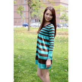 ^~依佳依^~ 圓領鑲寶石~綠黑橫紋針織上衣 短洋裝