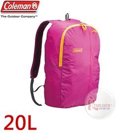 探險家戶外用品㊣CM-B441JMOBE 美國Coleman UL可收摺輕量後背包-20L (紅) 雙肩背包 旅行 郊遊 運動休閒