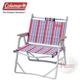探險家戶外用品㊣CM-14617 美國Coleman 鋁合金輕薄摺疊椅 (藍紅條紋) 休閒椅 折疊椅 導演椅 折合椅