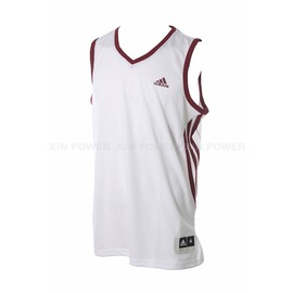 Adidas~  男款排汗 籃球背心-白/紅 (D83159)