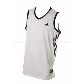 Adidas~  男款排汗 籃球背心-白/黑 (D83157)