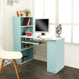 ~H  F居家 館~DE012 日式蜜糖粉色4 2書櫃書桌^(加贈鍵盤架^)^(書桌 工作
