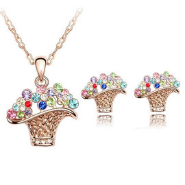飾品 套裝水晶 項鍊 耳環 奧地利水晶套裝~~花籃(玫瑰金 彩色)
