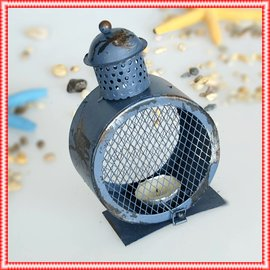 Vintage 懷舊感復古舊時油燈圓形 燭台 紅藍色刷舊浪漫氣氛燭臺 鐵製家居擺飾網狀蠟燭