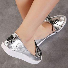 弈軒小舖 女鞋 頭層牛皮小尖頭舒適真皮休閒系帶平底平跟女單鞋618~3