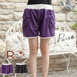 短褲~~巧妙 鬆緊褲頭配色羅紋立體口袋 短褲 黑.紫M~2L ~R141眼圈熊中大