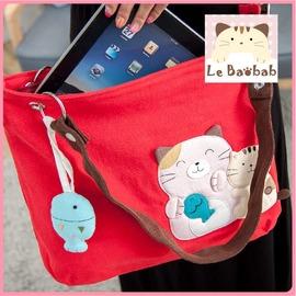 斜背包~Le Baobab日系貓咪包 啵啵貓小魚一家親兩用包 肩背包 手提包 側背包 拼布