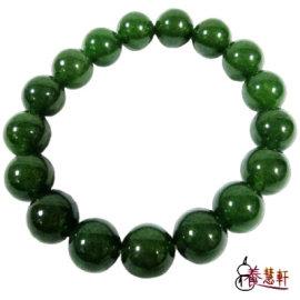 養慧軒藝品  天然翠綠碧玉圓珠手鍊 直徑12mm   附贈 1只,質地細膩,猶如墨綠色的凝