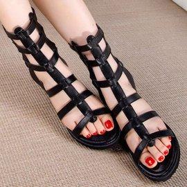 弈軒小舖女鞋 露趾低跟鉚釘百搭拉鏈羅馬涼靴涼鞋松糕夾腳拖鞋605~3