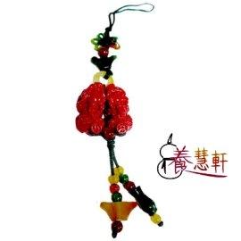 養慧軒藝品  紅玉石精緻巧雕 招財貔貅^(一對^)手機吊飾,雕工細緻,招財咬錢的隨身吉祥物