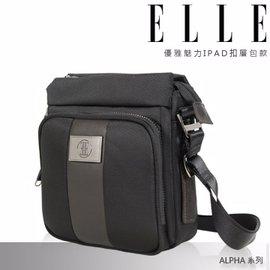 ELLE HOMME 上市 紳士魅力ALPHA~II休閒直立式 側背包頭層皮款^(黑^)