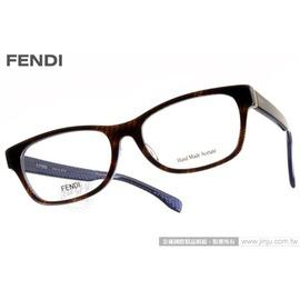FENDI 光學眼鏡 FS1001J 7OY ^(咖啡藍^) 藝術風味 簡約款 平光鏡框