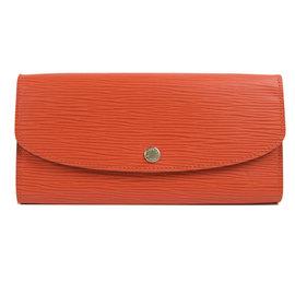 Louis Vuitton M60713 EMILIE EPI水波紋皮革扣式零錢長夾.橘