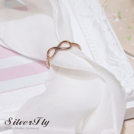 ~ SilverFly銀火蟲銀飾 ~愛無限925銀戒 玫瑰金色