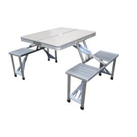 探險家戶外用品㊣DJ6730 鋁合金野餐桌椅組85x67cm (附收納袋) 折合桌摺疊桌折疊桌休閒桌椅組