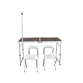 探險家戶外用品㊣DJ6732 鋁合金一桌四椅組 (木紋)120x60cm(附收納袋) 折合桌摺疊桌折疊桌休閒桌椅組
